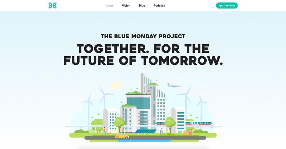 Screenshot von Website www.bluemondayproject.com