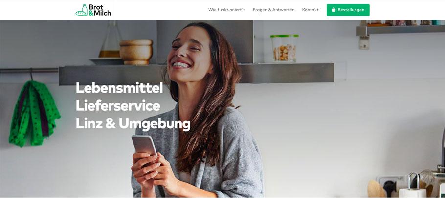 Screenshot von Website www.brotundmilch.at