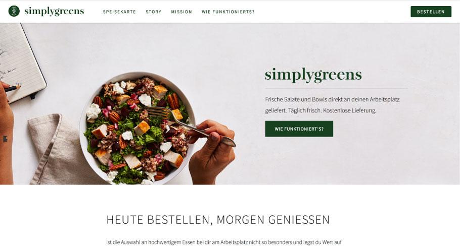 Screenshot von Website www.simplygreens.at